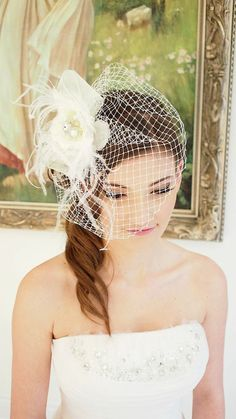 Rose & Feather Bird Cage Veil on Etsy, $82.93