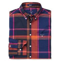 GANT Men's Telltail Madras Shirt Hamptons Blue | Official Site