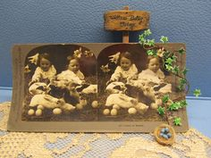 Vintage Easter Photo 1800s Sepia Card Girls with Eggs, Chicks and Bunnies Dawn of Easter Keystone View Stereoview Victorian Collectible Gift by WillowValleyVintage on Etsy