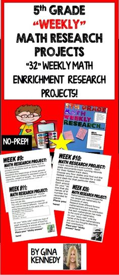 "5TH GRADE MATH ENRICHMENT RESEARCH PROJECTS FOR THE ENTIRE YEAR FOR EARLY FINISHERS! A SIMPLE WAY TO ADD CHALLENGE AND RIGOR WITH LITTLE TEACHER PREP! AN EXCELLENT WAY TO PROMOTE TECHNOLOGY IN THE CLASSROOM! Adding enrichment to your classroom shouldn't have to be time consuming and difficult to manage. This program is easy to manage and extremely rewarding for your students. I began using the weekly ""Math Research Projects"" strategy last year in my classroom and I'm happy to make it...$"