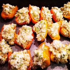 My favorite way to use sweet peppers- stuffed with goat cheese and minced squash then baked till brown.
