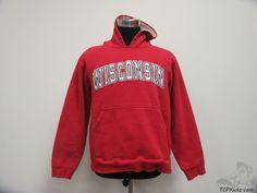 Champs University of Wisconsin Badgers Hoody Sweatshirt sz L Large SEWN NCAA #Champs #WisconsinBadgers #tcpkickz