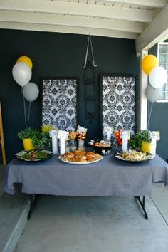 Black White Gray and Yellow Food table at a friend's baby shower at my house
