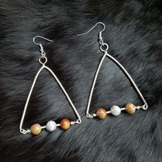 Geometric earrings, triangle earrings, crazy lace agate, wire wrapped Jewelry, wire wrap earrings, gift women, womens Jewelry, gift for Mom by ObsessionsByCrystal on Etsy #wirejewelry