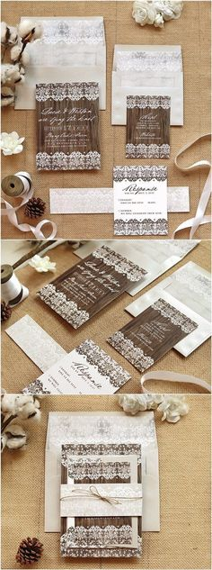 Wooden Vintage Wedding Invite Suite for a Country Wedding / http://www.deerpearlflowers.com/rustic-wedding-invitations-etsy/ #vintageweddinginvitations
