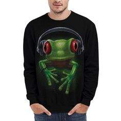 Wellcoda   NEW DJ Frog Music Rock Men Women Street Funky S-7XL Sweatshirt *h252 #Wellcoda