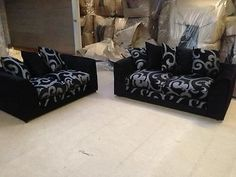 Zina Dylan 3 2 Fabric Sofas in Black/Grey - Only £289!!!  maymun.co.uk Fabric Sofa, Sofas, Black And Grey, Couch, Furniture, Home Decor, Couches, Settee, Decoration Home