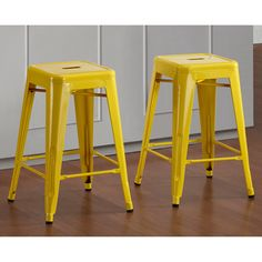 @Overstock - With their sturdy steel construction, these Tabouret 24-inch counter stools are offered in a lemon yellow color. These sturdy 100-percent steel stools are fully assembled, stackable and scratch and mar resistant.http://www.overstock.com/Home-Garden/Tabouret-24-inch-Lemon-Metal-Counter-Stools-Set-of-2/6839566/product.html?CID=214117 $89.99