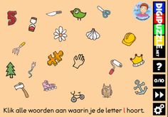 Kleuteridee.nl, Interactief letterspel bij de letter l voor kleuters, voor tablet, computer en digibord