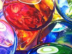 detail of large watercolor painting of glass gems by artist kelly eddington