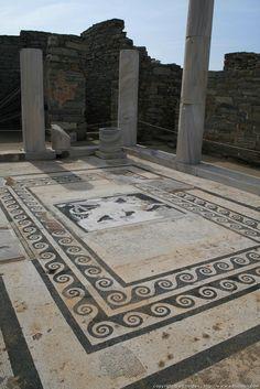 Mosaic floor in ruins, Delos Island across from Mykonos Island Greece Ancient Greek Art, Ancient Ruins, Ancient Rome, Ancient Greece, Ancient History, Delos Greece, Mykonos Greece, Mykonos Island, Athens Greece