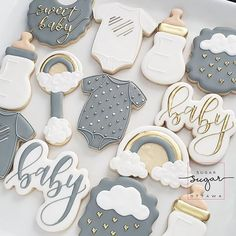 Baby Shower Food For Boy Ideas Sugar Cookies 38 New Ideas Idee Baby Shower, Boy Baby Shower Themes, Baby Shower Gender Reveal, Baby Shower Parties, Baby Boy Shower, Baby Showers, Gateau Baby Shower, Baby Shower Cookies, Baby Boy Cookies