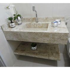Bancada de banheiro com cuba esculpida e prateleira em Mármore Bege Bahia da nossa cliente @goncalvesgilvane29 😍 . . #piadebanheiro #cubaesculpida #prateleira #banheiro #marmore #granito Cream Bathroom, Small Bathroom Sinks, Bathroom Hacks, Bathroom Sink Vanity, Casual Home Decor, Washbasin Design, Bathroom Design Inspiration, Toilet Design, Bathroom Design Luxury