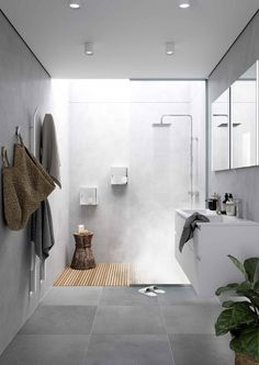 [New] The 10 Best Home Decor (with Pictures) – Lavabo estrecho sobre encimera In the bathroom. Grey Bathroom Tiles, Concrete Bathroom, Bathroom Layout, Bathroom Flooring, Skylight Bathroom, New Bathroom Designs, Bathroom Design Luxury, Modern Bathroom Design, Minimalist Bathroom Furniture