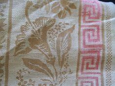 Antique Turkey Red Scrap Tablecloth As Is Pre 1880 Fabric Greek Key Border  | EBay Auction