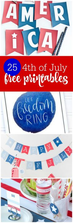Freebie Friday: 25 of July Free Party Printables - The Party Teacher 4th Of July Party, Fourth Of July, Party Printables, Free Printables, Diy Party, Party Ideas, Freedom Party, Teacher Party, Blue Birthday Parties