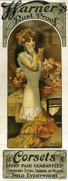warner's rustproof corset ad by alphonse mucha (summertime75.wordpress.com)