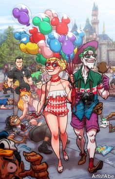 Harley Quinn and Joker: Happiest Place on Earth. By Artist Abe Lopez.