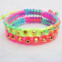 Neon friendship bracelet SET rainbow fluo by pieceofART, $36.00