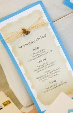 Wedding Itinerary - seashell and rafia accent