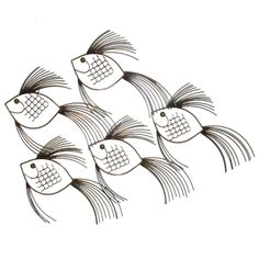 Large School Of Fish Curtis Jere Modern Art Metal Wall Sculpture Mid Century : so cool do decorate walls ..