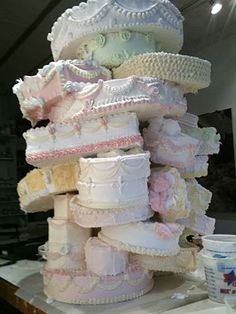 Cake Wrecks - is this a pile of Elizabeth Taylor's wedding cakes? Bad Cakes, Crazy Cakes, Fancy Cakes, Cute Cakes, Pretty Cakes, Beautiful Cakes, Amazing Cakes, Beautiful Mess, Pink Cakes