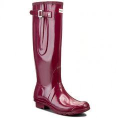 Kalosze HUNTER - Original Adjustable Gloss W24513 Violet Hunter Original, Rubber Rain Boots, The Originals, Shoes, Fashion, Zapatos, Moda, Shoes Outlet, La Mode