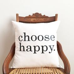 choose happy pillow cover inspirational by SassyStitchesbyLori