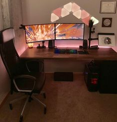 Nowadays, having a good computer desk becomes a necessity. Instead of regular desks, many of us look for products that combine comfort, style, and functional aspect. You can create a desk that suit… Simple Computer Desk, Gaming Computer Desk, Gaming Room Setup, Pc Setup, Office Setup, Desk Setup, Computer Technology, Computer Gadgets, Electronics Gadgets