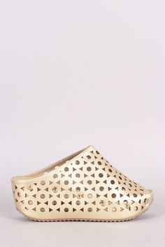 Studded Laser-Cut Peep Toe Platform Slide Wedge Mules