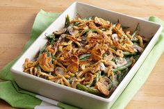 Up your green bean casserole game with a combination of fresh mushrooms and sour cream and a topping of crunchy French fried onions.
