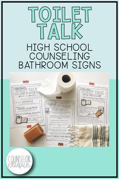 Toilet Talk is a set of bathroom newsletter signs for high school counselors to hang in student or faculty bathrooms. These 10 themed signs for high school students include peer pressure, social media, study skills, career readiness, and more. School Counselor Office, Middle School Counseling, High School Curriculum, Counseling Office, School Social Work, Elementary Counseling, School School, National School Counseling Week, Study Skills