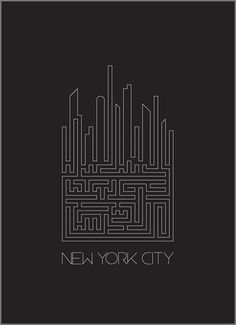 New York Poster    This design caught my eye because i love the simplicity of the design yet it is also very pleasing to the eye.  The maze like affect is cool because it looks like city blocks.