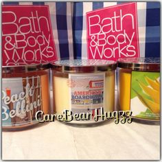 Bath and Body works 2014 3-wick candles in Peach Bellini, American Boardwalk and Pineapple Palm Grass