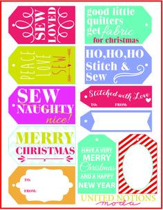FREE Printable Sewing Christmas Gift Tags!  @ModaFabrics