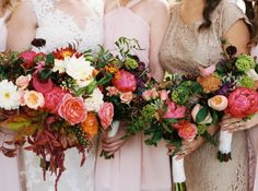 Burgundy and Coral Bouquets | photography by http://annapetersphoto.com