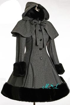 Classic Gothic Lolita: Heavy Wool & Fur Coat with Hood Cape. Not terribly into wool as it is itchy as hell, but the style of this coat is magnificent. Estilo Lolita, Steampunk Fashion, Gothic Fashion, Rock Fashion, Funky Fashion, Winter Fashion, Vintage Fashion, Mode Lolita, Lolita Style