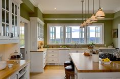 Crisp Architects - traditional - kitchen - new york - Crisp Architects. love the windows over the sink! Green Kitchen Walls, Green Kitchen Cabinets, Kitchen Paint, Kitchen Countertops, Green Walls, White Cabinets, Kitchen Windows, Upper Cabinets, Wooden Countertops
