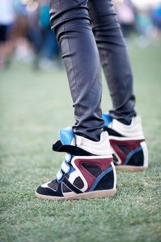 Isabel Marant Suede Blue Tongue High-top Sneakers
