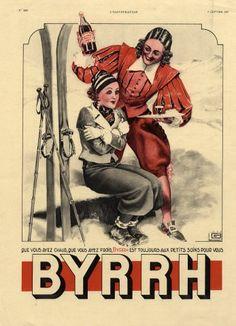1937 Skiing Winter Sports, Georges Léonnec Illustrator   Brand:  Byrrh (Drinks)
