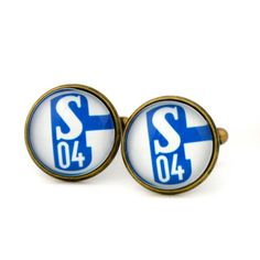 FC Schalke 04 Logo cufflinks. German association-football club. Personalised Silver Men's jewelry accessories gift. by Mysstic on Etsy