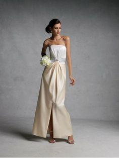 Satin Strapless Pleating Bodice A-line Bridesmaids Dress