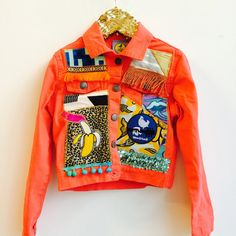 JUMP 3-4 Years Coloured Denim Jacket Upcycled with African fabric Pom Pom Trim