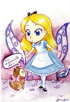 Aquarelle Alice in wonderland