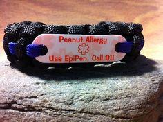 Peanut Allergy Use EpiPen Call 911: Medical Alert paracord bracelet for children, $13.