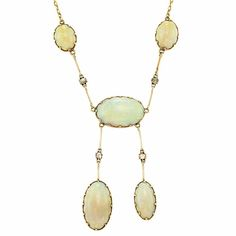 Lot 81  Antique Gold, Opal and Diamond Necklace  5 oval opals ap. 27.00 cts., 4 rose-cut diamonds, reverse plaque with personal engraving, d...
