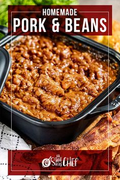 Homemade Pork and Beans are hearty, sweet, tangy, and loaded with serious flavor. We've included instructions in this incredible recipe for the oven, slow cooker, and instant pot to make this the easiest pork and beans ever! You're going to want to give this a try for the most delicious dinner, tailgate, or game day food! Pork Recipes For Dinner, Side Dish Recipes, Pork N Beans, Incredible Recipes, Game Day Food, Chili Recipes, Food Dishes, Food Print, Food To Make