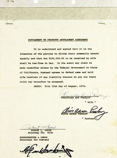 DIVORCE DOCUMENT Property settlement Aug 1972