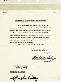 DIVORCE DOCUMENT Property settlement Aug 1972