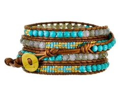 Chan Luu   Turquoise and Agate Mix Beaded Bracelet in Cheap Chic Bracelets at TWISTonline